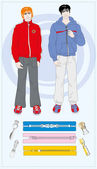 Two young men with collection of zippers — Stock Vector