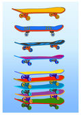 Colored skateboards — Stock Vector