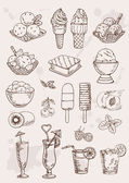 Set of hand drawing alcohol coctail and ice cream — Stockvektor