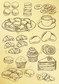 Set of hand drawing cakes and sweet — Stockvector