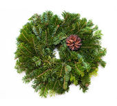 Traditional green christmas wreath — Stock Photo