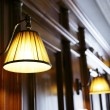 Wooden panels and lamps - Stock Photo