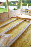 Wooden floor with insulation — Stock Photo