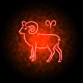 Aries zodiac sign glowing in the darkness. — Foto Stock
