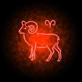 Signo de áries brilhando na escuridão. — Foto Stock
