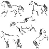 Drawn stylized horses — Stock Vector