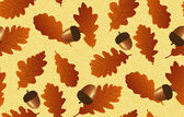 Seamless background with oak leaves and acorns — Stock Vector