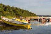 Barca a remi sul lago perhovo, russia — Foto Stock