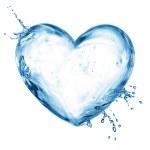 su sıçrama bubbles ile kalp — Stok fotoğraf