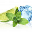 Ice cubes, mint leaves and lime on a white — Stock Photo #15549387