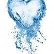 Heart from water splash with bubbles — Stock fotografie