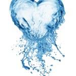 serce z plusk wody z bąbelkami — Zdjęcie stockowe