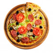 Pizza with ham, pepper and olives — Stock Photo #15552923