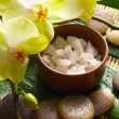 Bowl of salt and orchid with stone — Stock Photo