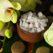 Bowl of salt and orchid with towel — Stock Photo #15553089
