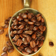 Stock Photo: Coffee beans in metal scoop