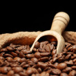 Royalty-Free Stock Photo: Coffee beans on burlap sack