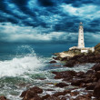 Lighthouse sits on the edge of the Crimean peninsula - Foto Stock