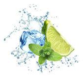 Cubos de gelo, folhas de hortelã, respingos de água e limão em um branco — Foto Stock