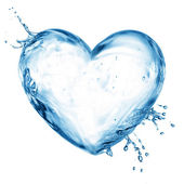 Heart from water splash with bubbles — 图库照片