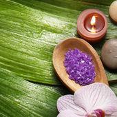 чаша соли и орхидеи с камнем — Стоковое фото