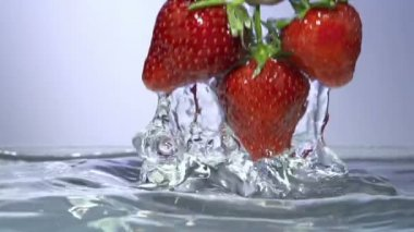 Fresh strawberry under water with a splash. — Stock Video