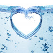Heart from water splash isolated on white. — Stock Photo