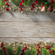 Christmas fir tree on wood texture. background old panels — Foto de Stock