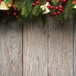Christmas fir tree on wood texture. background old panels — Stock Photo