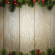 Christmas fir tree on wood texture. background old panels — Stock Photo #37158661