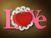 "Holidays card with word ""love"" and heart — Foto Stock"