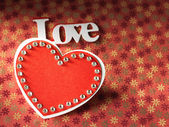 """Holidays card with word """"love"""" and heart — Stock Photo"""