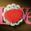 """Card with word """"love"""" and hearts — Stock Photo"""