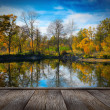 Autumn foliage over lake — Stock Photo