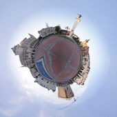 Planet with  cityscape circumference — Stock Photo