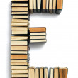 Letter E formed from the page ends of books — Stock Photo #49362469