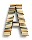 Letter A formed from the page ends of books — Stock Photo