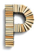 Letter P formed from books — Stock Photo