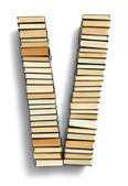 Letter V formed from the page ends of books — Foto Stock