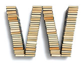Letter W formed from books — Foto Stock