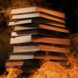 Stack of books in a burning fire — Stock Photo #51266029