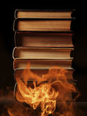 Hardcover books with swirling smoke — Foto de Stock