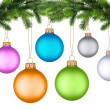 Christmas tree branch with Christmas ball isolated on white — Stock Photo #9606197