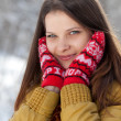Portrait of a beautiful girl in the winter. Winter girl. — Stock Photo #16244489