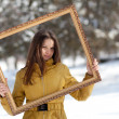 Portrait of a beautiful girl in the winter. Winter girl. — Stock Photo