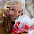 Portrait of a beautiful girl in the winter. Winter girl. — Stock Photo #16244509