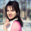 Beautiful girl in a pink blouse in winter - Stockfoto
