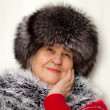 Beautiful woman wearing in fur hat and in fur coat — Stock Photo