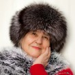 Royalty-Free Stock Photo: Beautiful woman wearing in fur hat and in fur coat