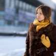 Stock Photo: Looking girl. girl in furs. Portrait.